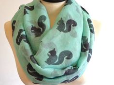 Squirrel print infinity scarf, circle scarf, squirrel scarf, print scarf women, loop scarf, mint green scarf by chicdays on Etsy https://www.etsy.com/listing/189042787/squirrel-print-infinity-scarf-circle
