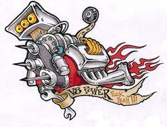 order now in our webshop www. Car Tattoos, Body Art Tattoos, Ed Roth Art, Hot Rod Tattoo, Engine Tattoo, Pinstriping Designs, Tattoo Project, Rat Fink, Garage Art