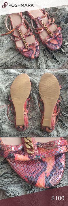 Stuart Weitzman Beautiful metallic snake print sandal wedges. Worn once. Stuart Weitzman Shoes Sandals