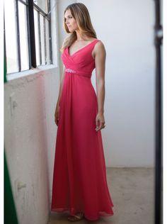 2015 V-neck Hot Pink Chiffon Floor Length Bridesmaid Dress colour kenneth winston 5160