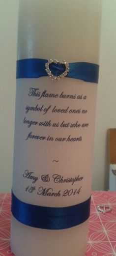My wedding memorial candle