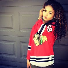 Redskins Jersey.Curly Hair. Swag. Urban Fashion. Dope. India Westbrooks Style