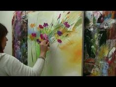 Abstract floral painting Demo time lapse / Abstraktes Blumenbild in Acryl…