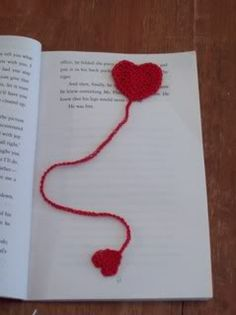 Free Crochet I give U my Heart bookmark Pattern.