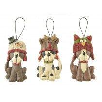Set Of 3 Hanging Dog Decorations