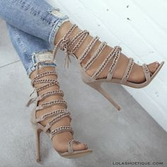 HYPNOTIZE #lolashoetique #heels #highheels #chainheels #style #chic #sexy #hot #musthave #trending #trend #strappy #demin #nude #nudeheels #new