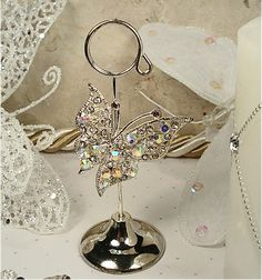 Italian Rhinestone Butterfly Place Card Holders. <3 this, or for hubby/kid notes? Lunch in fridge,etc....