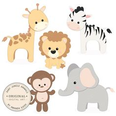 Professional Baby Jungle Animals Clipart & Vector Set - Baby Shower Clip Art…