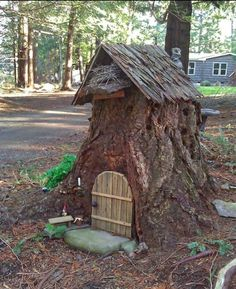 "Make a smaller Fairy house similar to this  ""Troll House"" from a tree trunk"
