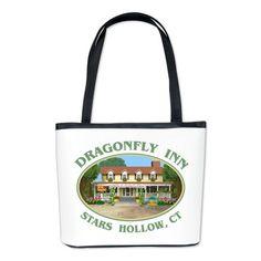Dragonfly Inn Bucket Bag #DragonflyInn #Starshollow CT painting by TheTshirtPainter #GilmoreGirls #GilmoreGirlsRevival shirts pillows more - for all this design - click here - http://www.cafepress.com/dd/107329394