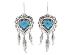 Southwest Style By Jtv (Tm) Heart Shape Cabochon Blue Turquoise Sterling Silver Feather Earrings
