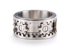 The Gear Ring by Kinekt Design has a cool design, but the cool factor is taken to a whole new level when you realize that the gears actually turn! For thos