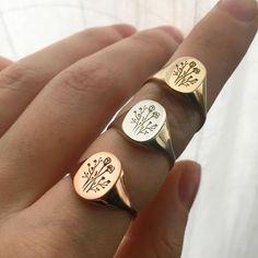 Wildflower Signet Ring - Wildflower Signet Ring in Brass - Cute Jewelry, Jewelry Box, Silver Jewelry, Jewelry Accessories, Jewlery, Zales Jewelry, Purple Jewelry, Turquoise Rings, Jewelry Armoire