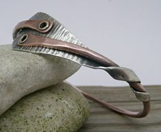 Forged Heart Bangle Bracelet, Sterling Silver, 10 Gauge Copper Wire by LjBjewelry