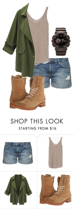 """""""Jackie Jurassic World"""" by kristle123 ❤ liked on Polyvore featuring Current/Elliott, Zara, Frye and G-Shock"""