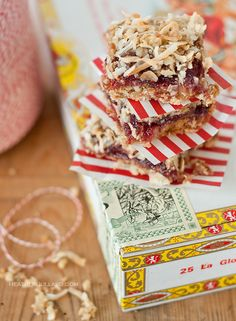 """So DELISH - Raspberry & Almond Oatmeal Bars! You can """"health"""" these up by swapping a few ingredients: use coconut oil, replace a bit of oats w/wheat germ"""