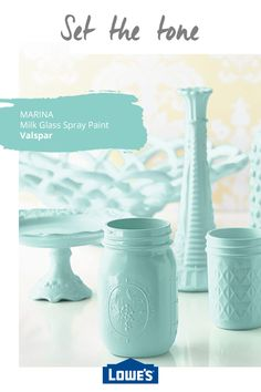 Whether you& looking to brighten a room or just searching for the perfect paint for your latest DIY project & head to Lowe& to discover the perfect paints, trends and inspiration for your home. Shop the collection today! Easy Woodworking Projects, Woodworking Shop, Valspar, Mason Jar Crafts, Mason Jars, Bottles And Jars, Milk Glass, Sea Glass, Making Ideas
