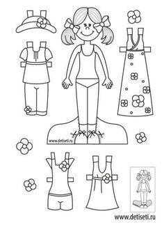 kliknout na ni je jich tam Paper Doll Template, Paper Dolls Printable, Cool Coloring Pages, Coloring Books, Educational Activities For Preschoolers, Colors For Toddlers, Art For Kids, Crafts For Kids, Paper Art