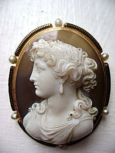 French Hard Stone Cameo 18K. Gold Brooch/Enamel/Pearls from SwisSiam-Arts-Antiques-Gems