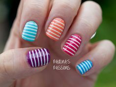 Striped Skittles nail art: five color colour design: white base (W7 Linen) with horizontal lines made with striping tape or scotch tape in purple violet (W7 Purple), blue turquoise (NYC Blue Sky), orange (Bourjois Meli Melon and raspberry pink red (W7 Pink Paradise) and light blue (W7 Neon Blue) #pinstripes #spring #summer #easy 2013 #nailart #manicure #skittles | Paulina's Passions