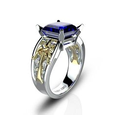 Cupid's Arrow Inspired Unique Women's Ring with Blue Sapphire 925 Sterling silver for Valentines Gift