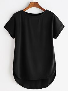 To find out about the High Low Curved Hem Tshirt at SHEIN, part of our latest T-Shirts ready to shop online today! Latest T Shirt, Roll Up Sleeves, Short Sleeves, Elegant Woman, Types Of Sleeves, Cool T Shirts, Trendy Outfits, Fashion Dresses, Ootd Fashion