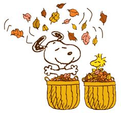 Snoopy and Woodstock with fall leaves