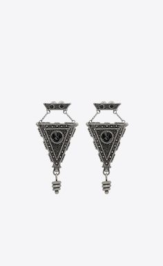 a4ea33c5411 SAINT LAURENT Earrings Woman MARRAKECH triangle earrings in silver-toned tin  a_V4