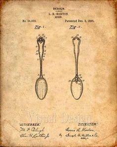 Patent Print of a Spoon Patent From Art Print, Patent Poster, Kitchen Art, Kitchen Decor, Kitc Wall Art Decor, Wall Art Prints, Poster Prints, Vintage Wall Art, Vintage Walls, Kitchen Art, Kitchen Decor, Kitchen Pics, Kitchen Tools