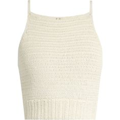 She Made Me Jannah crochet cropped cami top (€145) ❤ liked on Polyvore featuring tops, crop top, shirts, tanks, cream, boho crop top, white cotton tops, summer shirts, cami crop top and crochet crop top