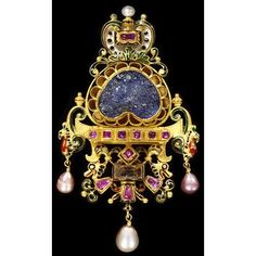 This Nineteenth-century jewel draws its inspiration from the pendants made in Germany in the early 1700s, but it is unusual amongst Renaissance Revival pieces for its commemoration of an event from contemporary Italian foreign policy. Engraved on the large central sapphire is a representation of the battle at Dogali in Ethiopia, where five hundred Italian troops were massacred on 27th January 1887 while attempting to establish an Italian empire in Africa.