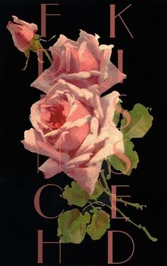 DIGITAL download PINK ROSES antique French postcard scan Romantic Cottage Wall Decor. $3.99, via Etsy.