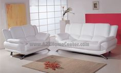 "Elegant Contemporary White Leather Sofa Loveseat Set by ModernLineFurniture. $1195.95. All of the seats and backs are high density (1.7) foam to give comfort and support.. Sofa L 80"" D 37"" H 36"". Loveseat L 61"" x D 37"" x H37"". Upholstery is ""bench-made"" - using some of the finest Italian leather combined with the best designed leather match material available.. Beautiful modern contemporary white leather living room set made from high quality leather, and chrome leg..."