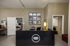 Front desk, open floor plan.