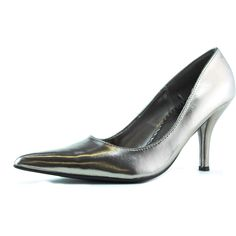 Save 10% + Free Shipping Offer * | Coupon Code: Pinterest10 Material: Man Made Patent Leather Material. Brand: Qupid Heel Height: 3.25 inches Heel, (Approx) Product Code: Mollie-01 Pewter Must have for causal, and formal events! Pointy front, lightly padded insole for comfort, with shinny patent leather polish finished. Women's Qupid Mollie-01 Pewter Patent leather Pointy Pumps