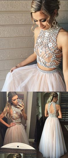 Two Piece Prom Dresses,A line Prom Dresses,Tulle Prom Dress with Beads,Pretty High Neck Prom Dresses,2 pieces Evening Dresses,Prom Dress