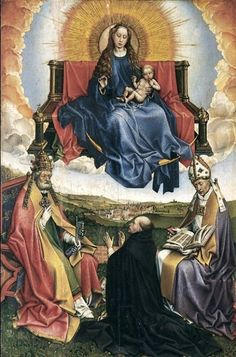Robert Campin) - Virgin and Child in Glory with Saints Peter and Augustin, Venerated by a Patron.  Art Experience NYC  www.artexperiencenyc.com/social_login/?utm_source=pinterest_medium=pins_content=pinterest_pins_campaign=pinterest_initial