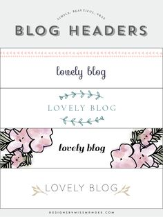 FREE Blog Header Designs - Designs By Miss Mandee. Give your website a fresh new look with one of these sleek logo designs. Easily customize to add your own blog name. Simple, beautiful, free!