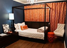 guest room that looks like a million bucks. the curtains are from Wal- Mart