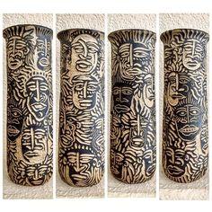 4 sided vessel #clay #ceramics #pottery #highfire #sgraffito #wolfworks  Rachel Wolf @wolfworksstudios