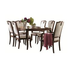 Classic Chic Chic Leg Dining Table and Loop Upholstered Chair Set for Sleek Urban Home Elegance by HGTV Home Furniture Collection - Baer's Furniture - Dining 7 (or more) Piece Set Miami, Ft. Lauderdale, Orlando, Sarasota, Naples, Ft. Myers, Florida found on Polyvore