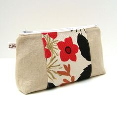 Zipper Pouch - Red Flowers on Unbleached Natural Cotton