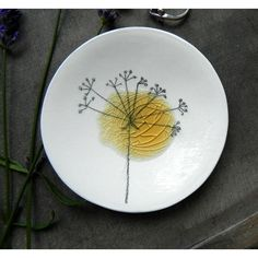 Porcelain White Ring Dish Recycled Glass OOAK Flower Ceramic Plate... (€17) ❤ liked on Polyvore featuring home and home decor