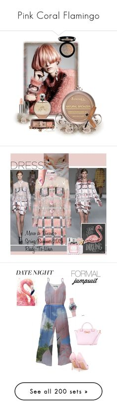 """""""Pink Coral Flamingo"""" by yours-styling-best-friend ❤ liked on Polyvore featuring Pink, coral, flamingo, editorial, beauty, Burberry, JLo by Jennifer Lopez, Hourglass Cosmetics, Rimmel and Giorgio Armani"""