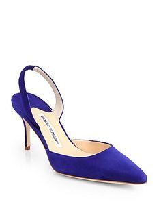 513e7d9c2835 Manolo Blahnik - Carolyne Suede Slingback Pumps - Saks.com Pump Shoes