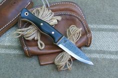 """3.5"""" AA Forge Bushcraft Knife in Black Linen and 3/32"""" 52100 High Carbon Steel"""