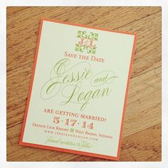 Orange and green save the dates, with custom wedding logo I Custom by Nico and Lala