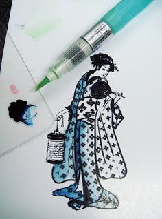 I Like Markers: Glossy Carstock, Part 4 - acrylic and copic refill with water brush. Blending like watercolors