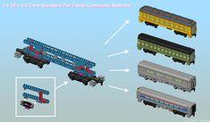 Each of the four coaches on the right use the same intern… Lego Train Tracks, Lego City Train, Lego Trains, Lego Building, Steam Locomotive, Lego Creations, Coaches, Legos, Lego Stuff