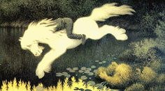 Gutt på hvit hest (Boy on white horse) - Theodor Kittelsen Mythological Creatures, Mythical Creatures, Folklore, Scariest Monsters, Estilo Geek, Illustrator, Art Populaire, Baba Yaga, Supernatural